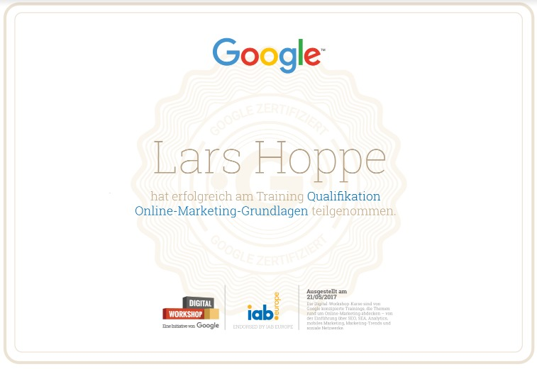 Google Online Marketing Zertifizierung | lars-hoppe.com